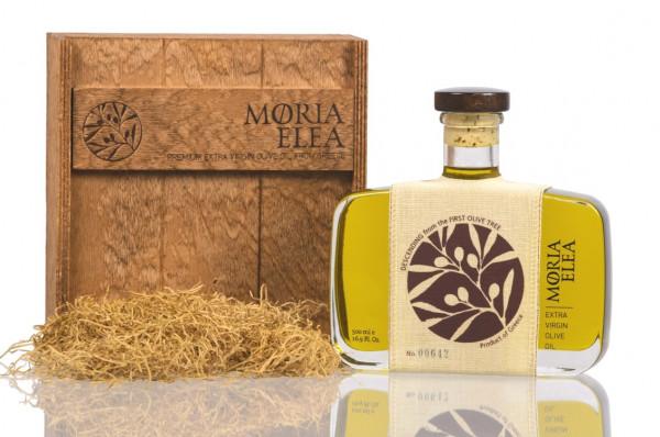 moria elea deluxe olivenöl 500 ml in der holzkiste