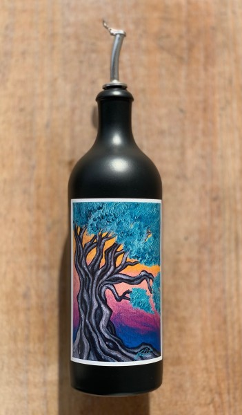 Keramik Flasche Olivenbaum Kunstbild in schwarz 750 ml mit Ausgießer