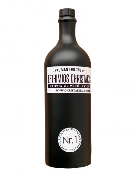 Nr. 1 Natives Olivenöl extra 750 ml in schwarzer Keramik Flasche