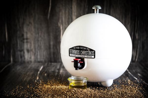 Kugel in weiss für bis zu 5 Liter Olivenöl Beutel Bag in Box